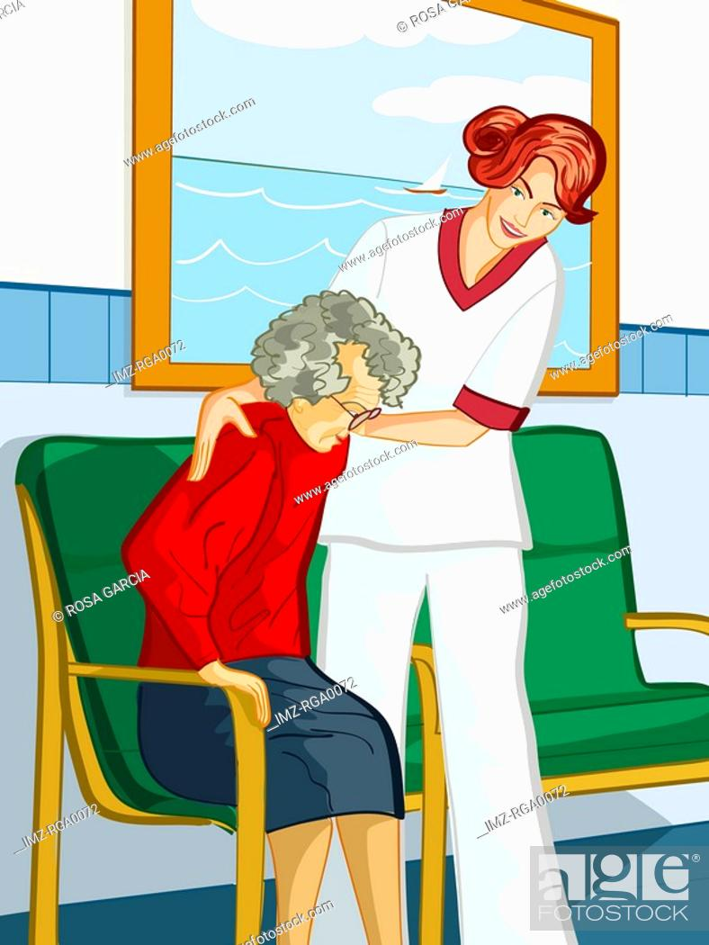 Stock Photo: A healthcare worker helping an elderly woman out of a chair.