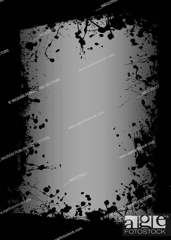 Vector: grunge ink splat border with grey highlighted background.