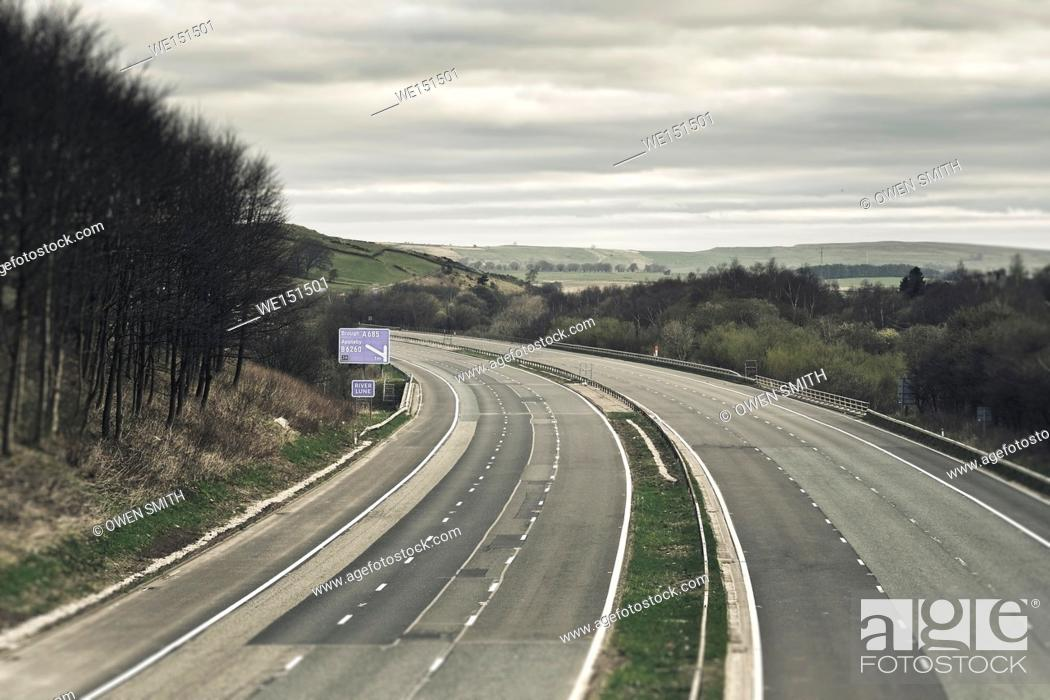 Stock Photo: Empty motorway in the Lake District, UK.