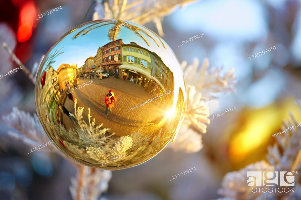 Photo de stock: Typical half-timbering houses reflected on a Christmas bauble. Colmar. Haut-Rhin. Alsace. France.