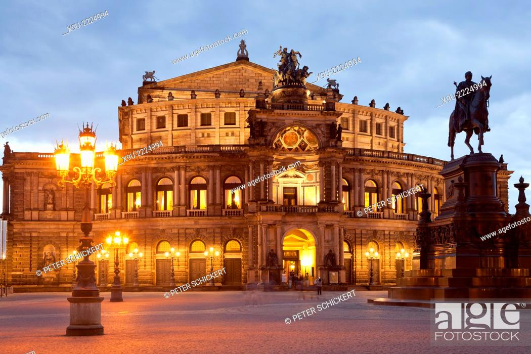 Stock Photo: opera house Semperoper and Statue Of King Johann on Theater square in Dresden at night, Saxony, Germany, Europe.