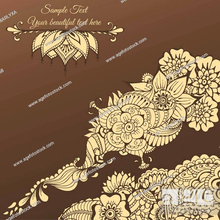 Ornate Vector Card Template In Indian Mehndi Style Hand Drawn Abstract Background Stock Vector Vector And Low Budget Royalty Free Image Pic Esy 045693168 Agefotostock