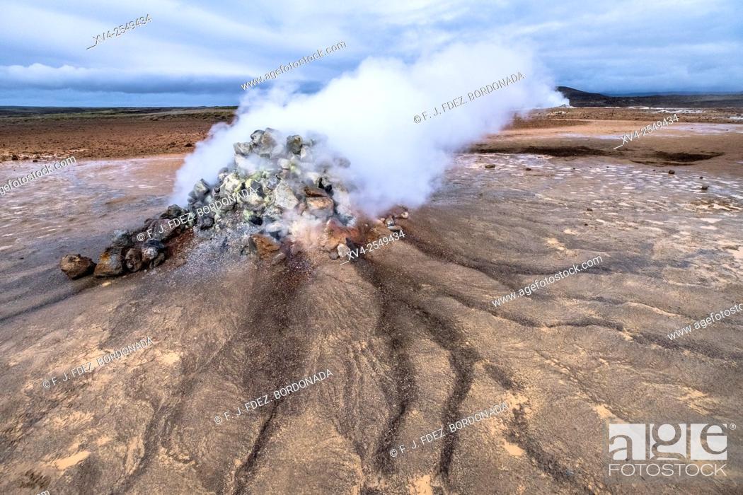 Stock Photo: Namafjall geothermal area. Þjóðvegur. Iceland.