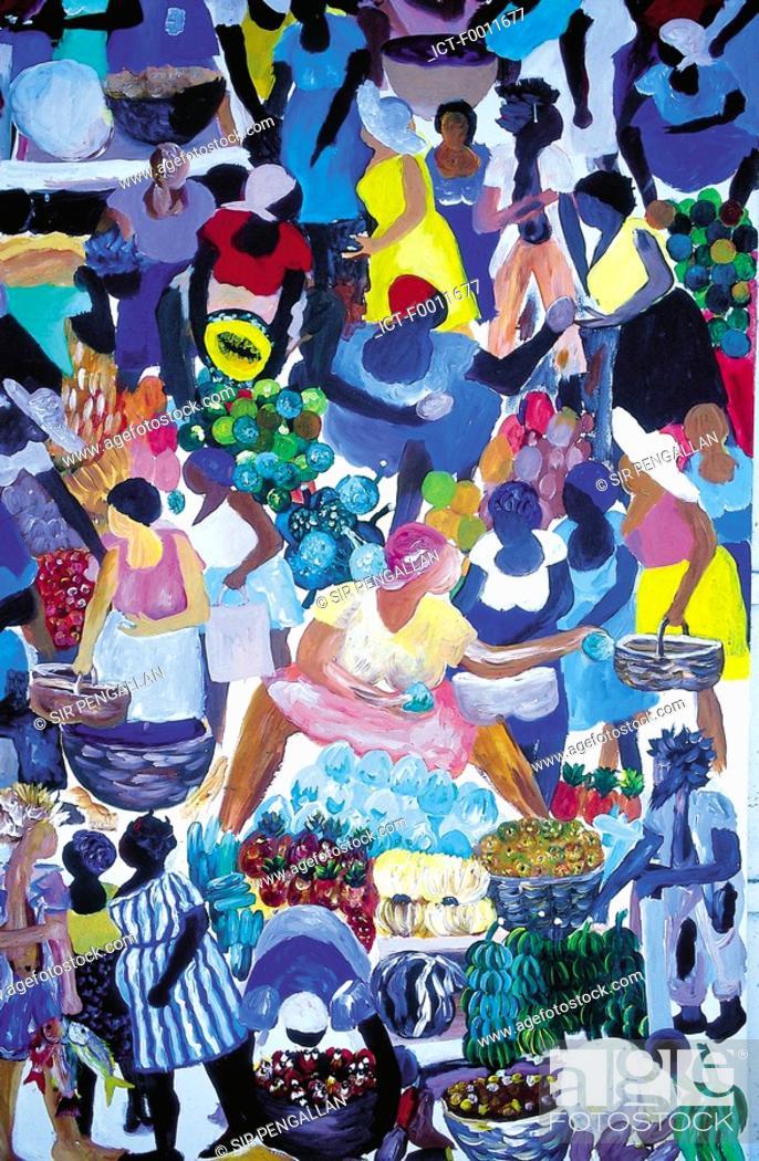 Stock Photo: Jamaica, Port Antonio, local naive painting.