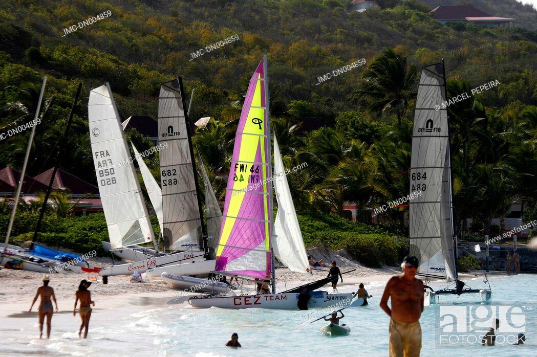 Stock Photo: French West Indies, Guadeloupe, Saint Barthelemy, windsurf.