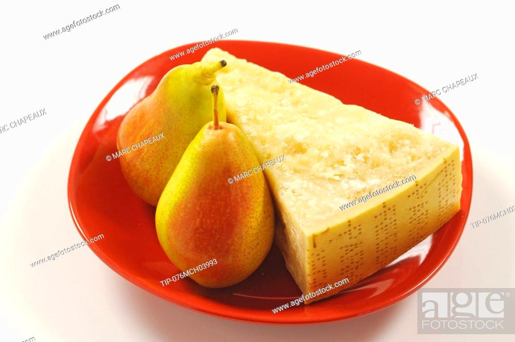 Stock Photo: Parmesan cheese and pears.