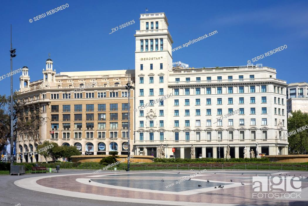 Stock Photo: Catalonia square in Barcelona is completely deserted and its passage is prohibited due to the total confinement of the population in Spain.