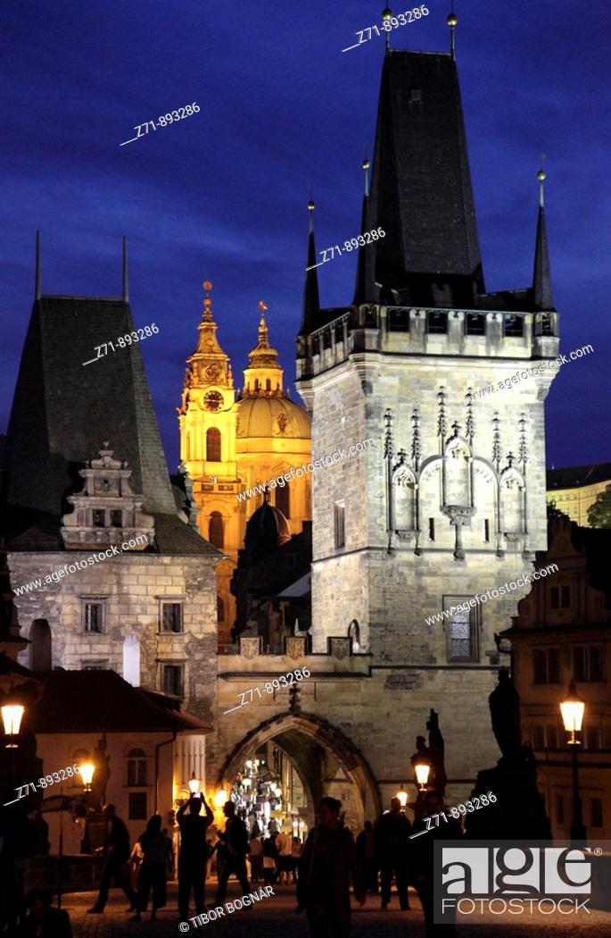 Stock Photo: Czech Republic, Prague, Lesser Town Bridge Tower, St Nicholas Church.