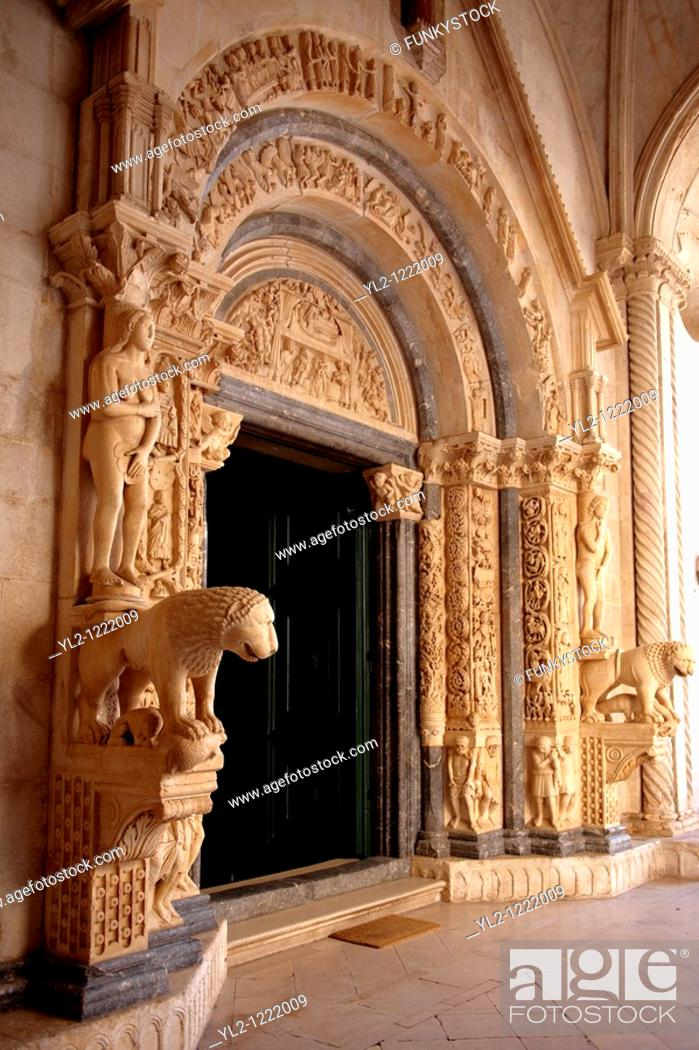 Stock Photo: Romaesque doorway sculptures by the Croatian architect Master Radovan  Saint Lawrence Cathedral - Trogir - Croatia.