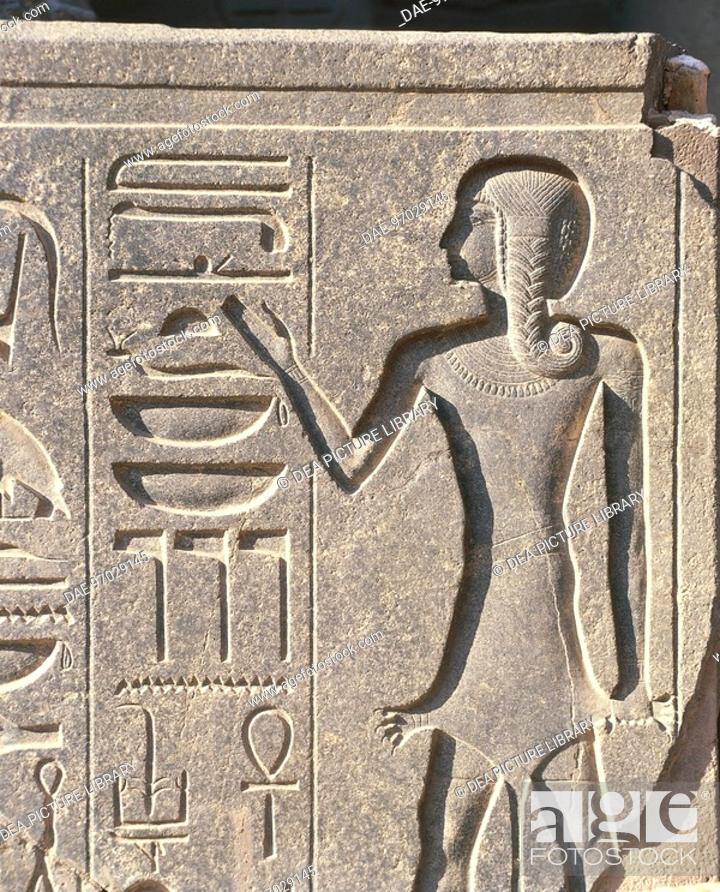 Stock Photo: Egypt - Ancient Thebes (UNESCO World Heritage List, 1979). Luxor. Temple of Amon. Hieroglyphed priest of Amon.