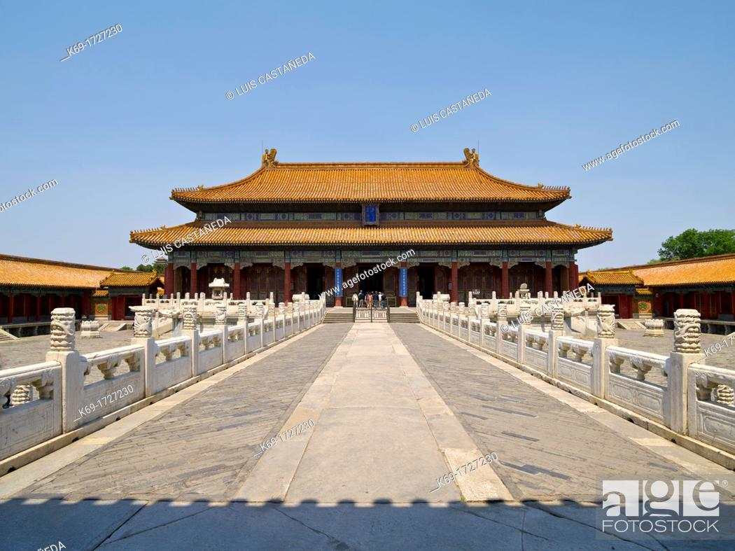 Stock Photo: Constructed in 1689 during the Qing Dynaty, originally named Ning Shou Gong Palace of Peace and Longevity but was renamed Huang Ji Dian Hall of the Norms of.