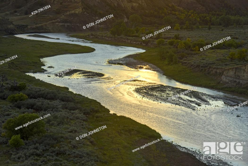 Stock Photo: Evening light glinting off rapids in the Little Missouri River, Theodore Roosevelt NP (South Unit), North Dakota, USA.