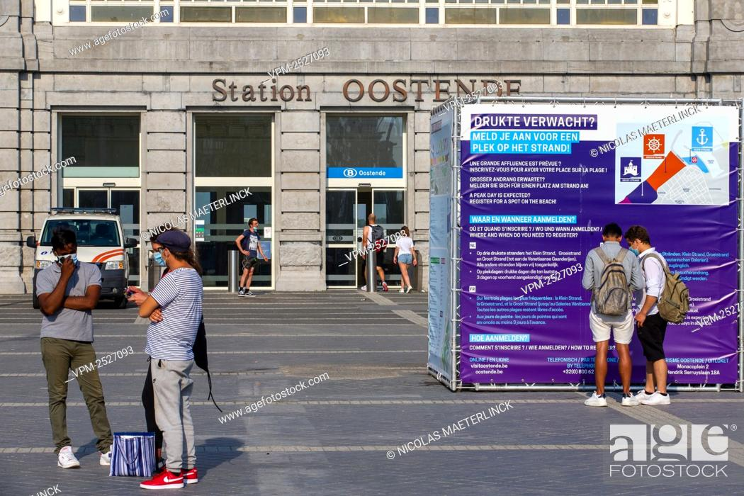 Imagen: Illustration picture shows the train station, in Oostende, Sunday 09 August 2020. After Yesterday's massive fight at the beach in Blankenberge several coastal.