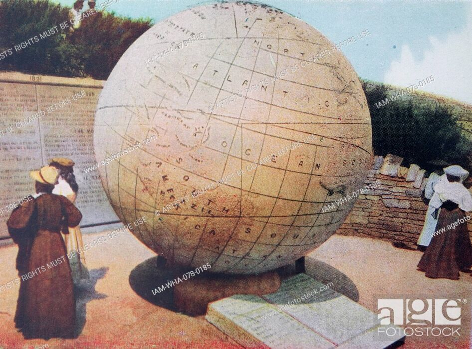 Stock Photo: The globe erected in 1887 at Swanage, in England. Edwardian hand coloured photograph circa 1905. The Great Globe at Swanage is one of the largest stone spheres.
