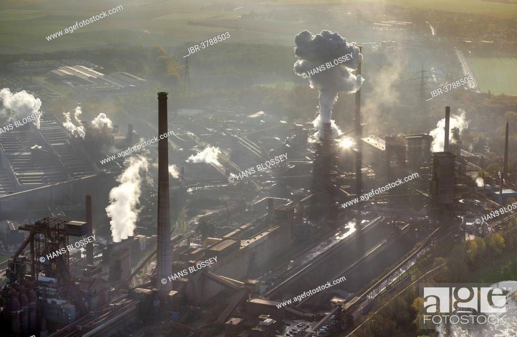 Stock Photo: HKM, Mannesmann Blasstahlwerk 1, basic oxygen steelmaking plant, aerial view, Rheinhausen, Duisburg, Ruhr area, North Rhine-Westphalia, Germany.