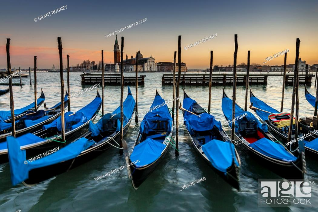 Stock Photo: Gondolas Moored Off St Markâ. . s Square, Venice, Italy.