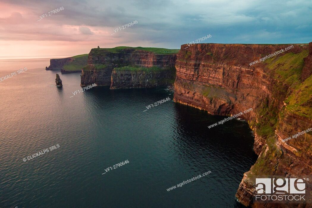 Stock Photo: Cliffs of Moher (Aillte an Mhothair), Doolin, County Clare, Munster province, Ireland, Europe. Aerial view of the cliffs at sunset.