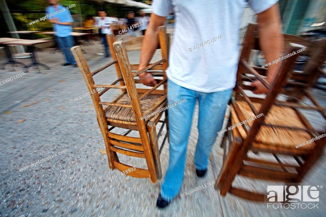 Stock Photo: Restaurant at Plaka District  Athens  Greece.