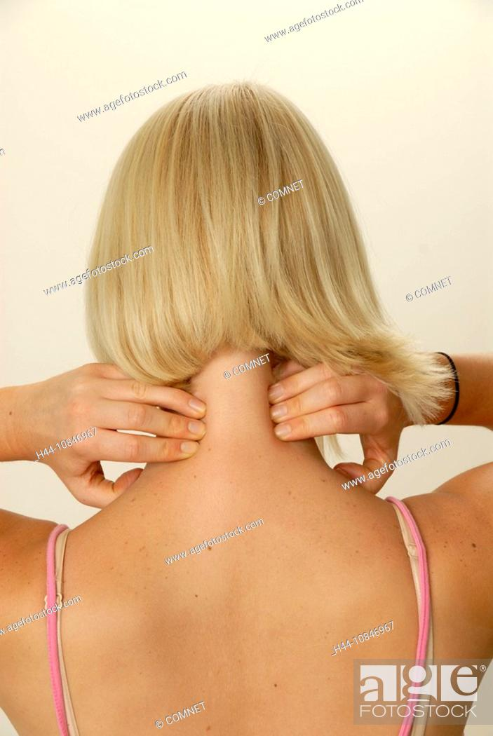 Young woman, Girl, acupressure, head, treating, self care