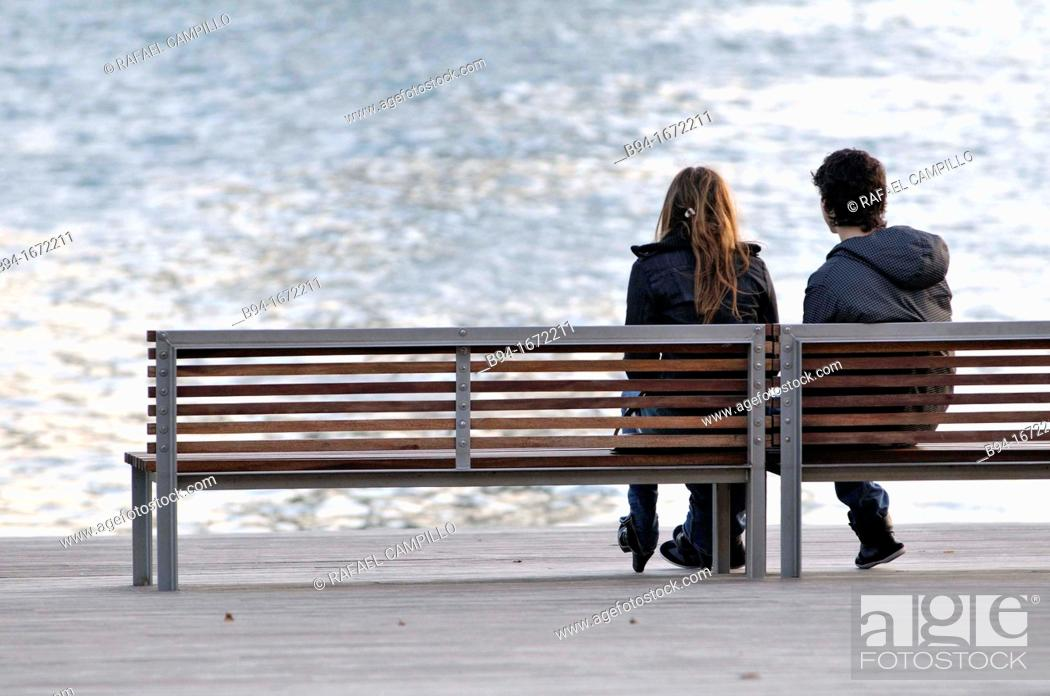 Stock Photo: Couple in the Maremagnum area  Barcelona  Catalonia  Spain.