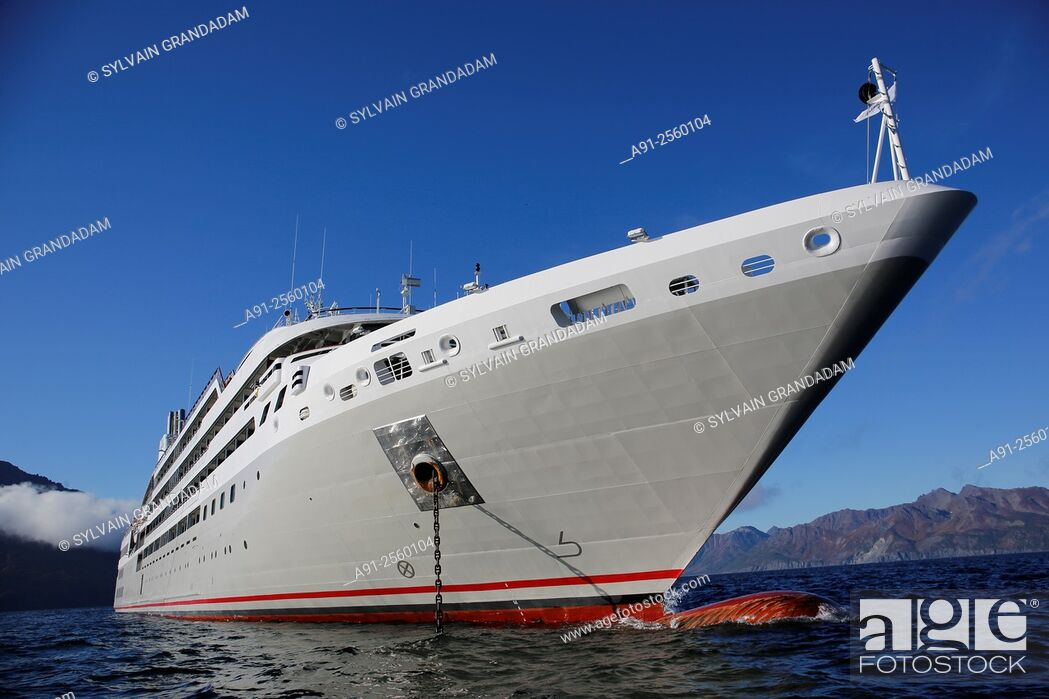 Stock Photo: Kamchatka Cruise on Ponant company Soleal cruise ship, departure from Nome, Alaska, to Petropavlosk, Petra Bay, along the Bogodlov island near Tintikun lagoon.