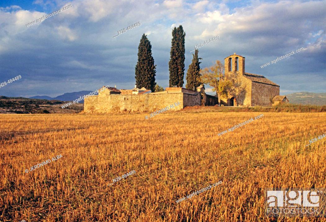Stock Photo: Romanesque chapel of Nuestra Señora del Llano. Roda de Isábena. Ribagorza. Huesca province. Aragon. Spain.