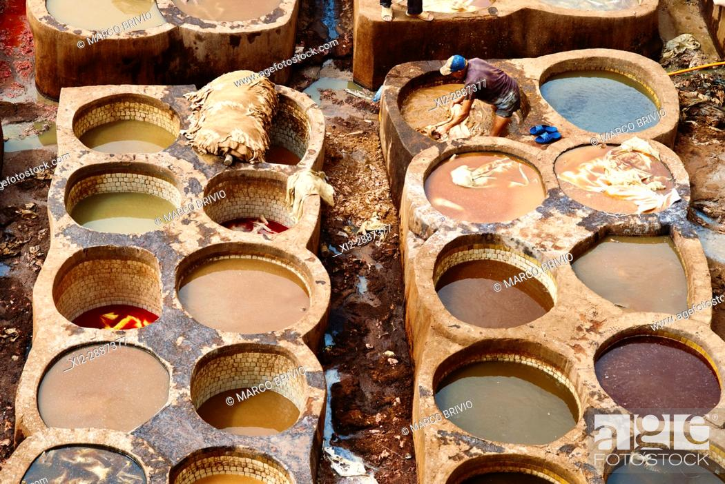 Stock Photo: Chaouwara Tanneries in the medina of Fez, Morocco.