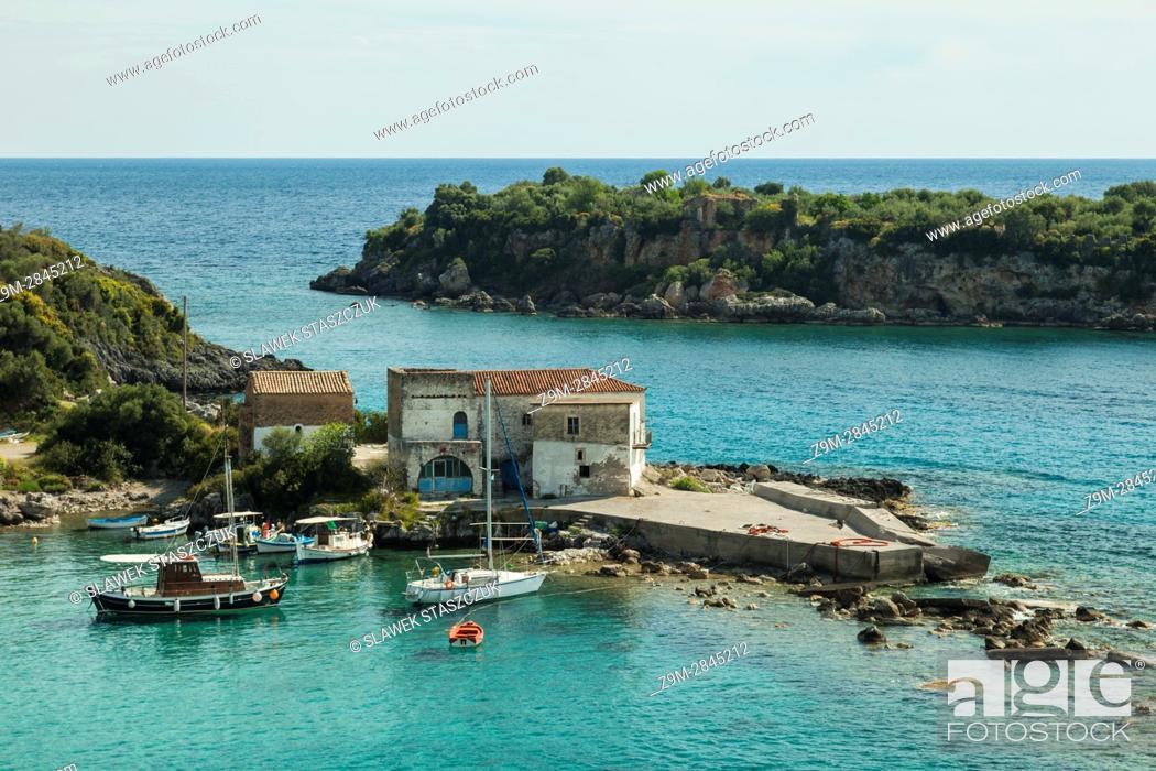 Stock Photo: Spring afternoon on the bay near Kardamili, Messenia, Peloponnese, Greece.