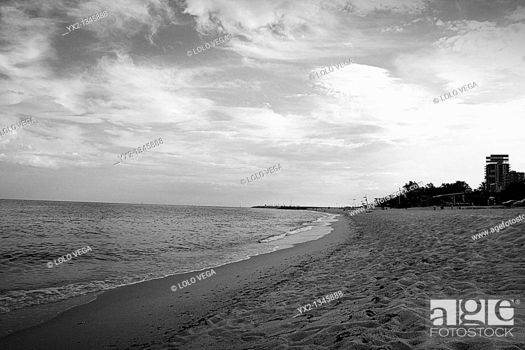 Stock Photo: Beach of Sant Simo, Mataro, Barcelona province, Catalonia, Spain.