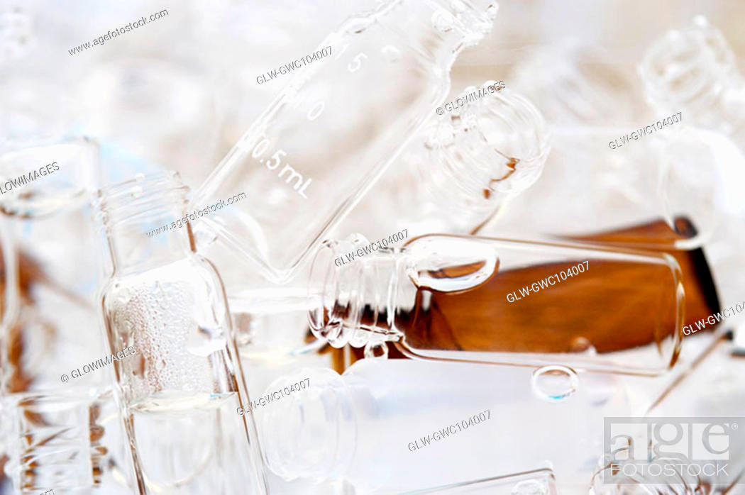 Stock Photo: Close-up of a heap of bottles.