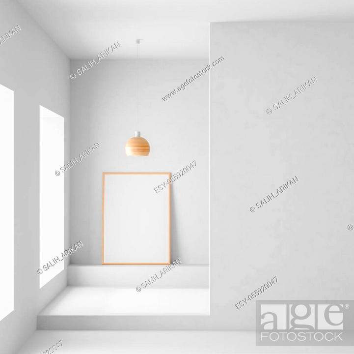 Stock Photo: Mock up poster frame in modern, spacious room with concrete walls. Minimalist modern room design. 3D illustration.