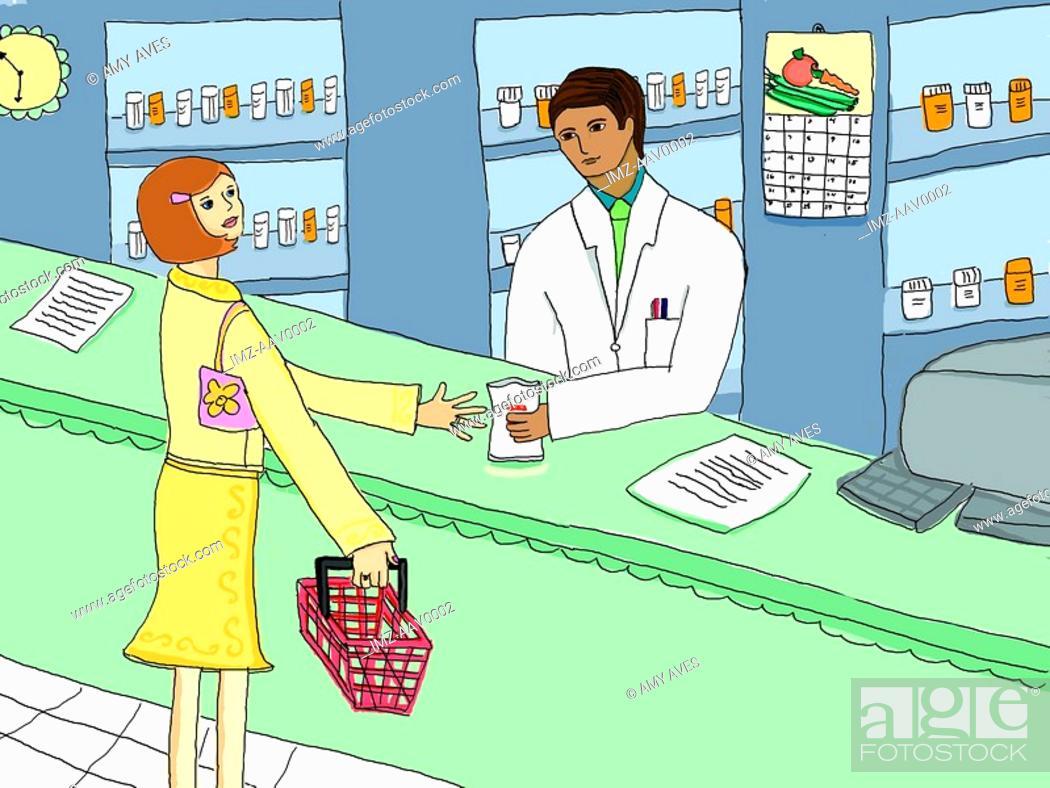 Stock Photo: woman talking to a pharmacist.