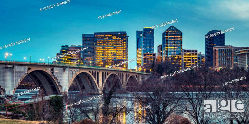 Stock Photo: View on Key bridge and Rosslyn skyscrapers at dusk, Washington DC, USA.