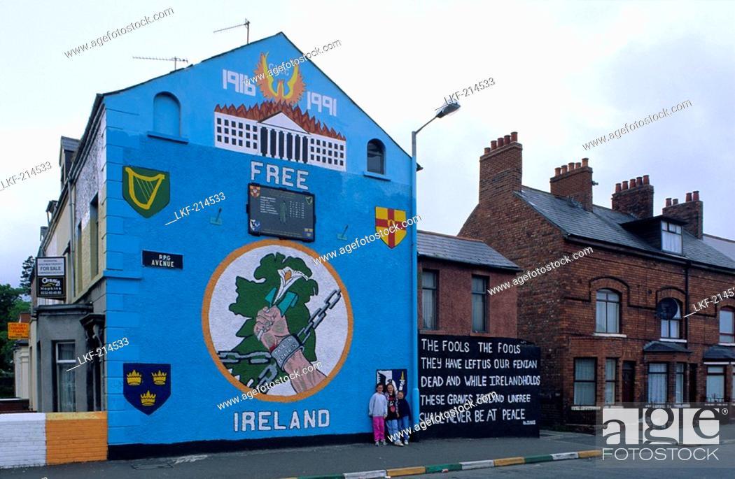 Stock Photo: The Falls Road, Catholic community, Belfast, County Antrim, Northern Ireland, United Kingdom, Europe.