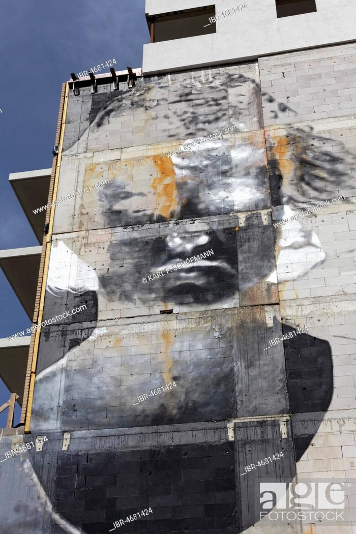 Stock Photo: Portrait as Photo Negative, Mural by Argentine street artist Bosoletti, The Crystal Ship Festival 2017, Ostend, Flanders, Belgium.
