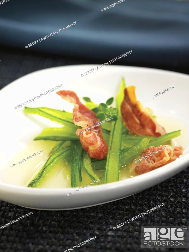 Stock Photo: borraja con crujiente de panceta / borage with crispy bacon.