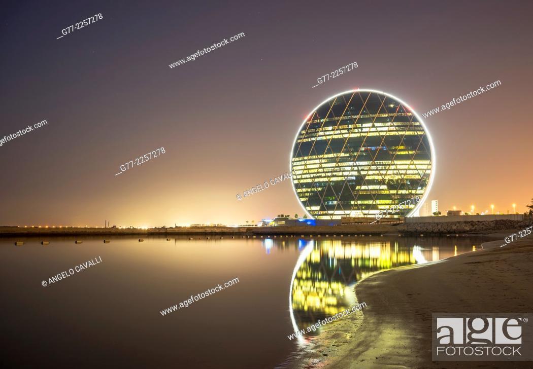 Stock Photo: Aldar HQ circular building in Abu Dhabi, UAE.