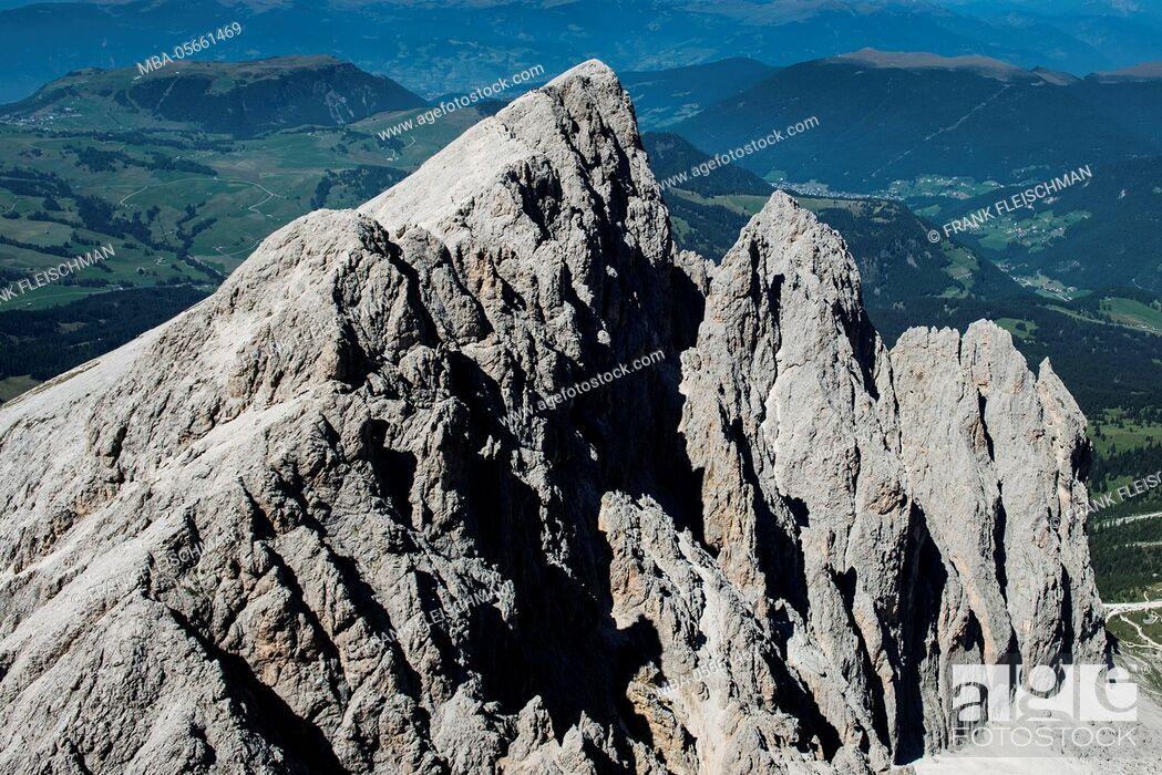 Stock Photo: Langkofelgruppe, wall bars, Plattkofel, the Dolomites, aerial picture, high mountains, Trentino, Italy.
