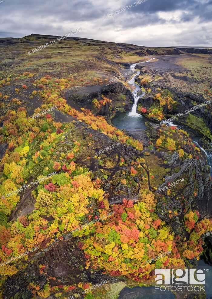 Stock Photo: Top view -Gjaarfoss Waterfalls, Iceland. This image is shot with a drone.