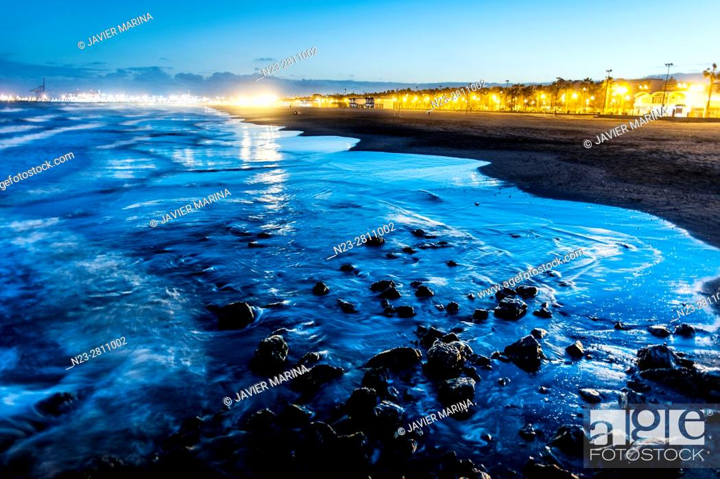 Stock Photo: Beach of La Patacona in the sunset, valencia, Spain.
