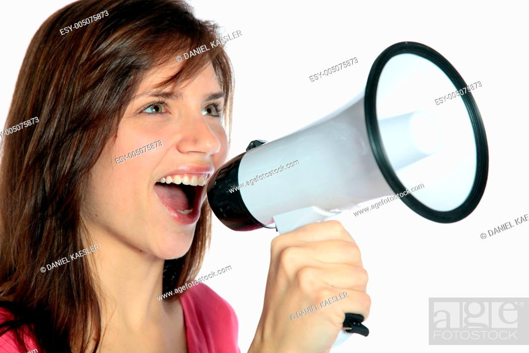 Stock Photo: Woman using megaphone.