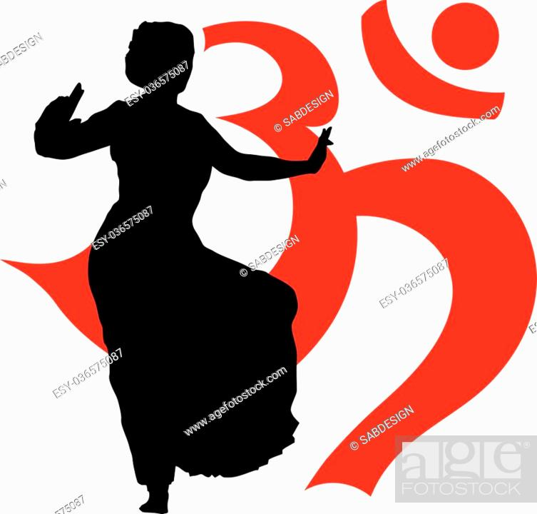 Isolated Silhouette Of Indian Dancers With Omkara Symbol Stock