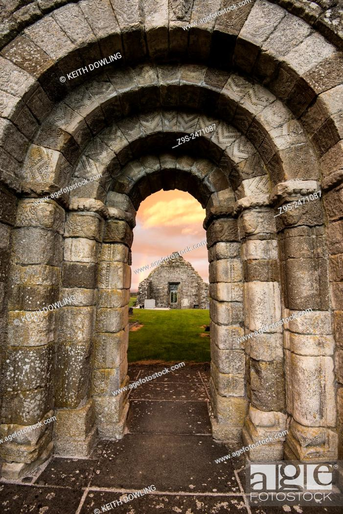 Stock Photo: Romanesque doorway and church remains at Killeshin near Carlow in Ireland. Doorway is late 900 AD.