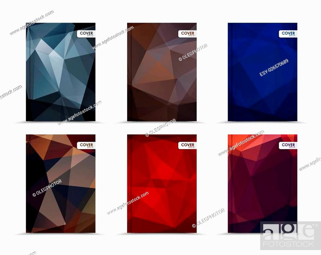Stock Vector: Set of template of dark covers for books, flyers, brochures or a report. Designed with black, brown, blue, red and purple abstract polygonal background.