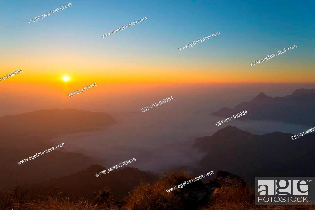 Stock Photo: Sunrise at Pu chee fah.