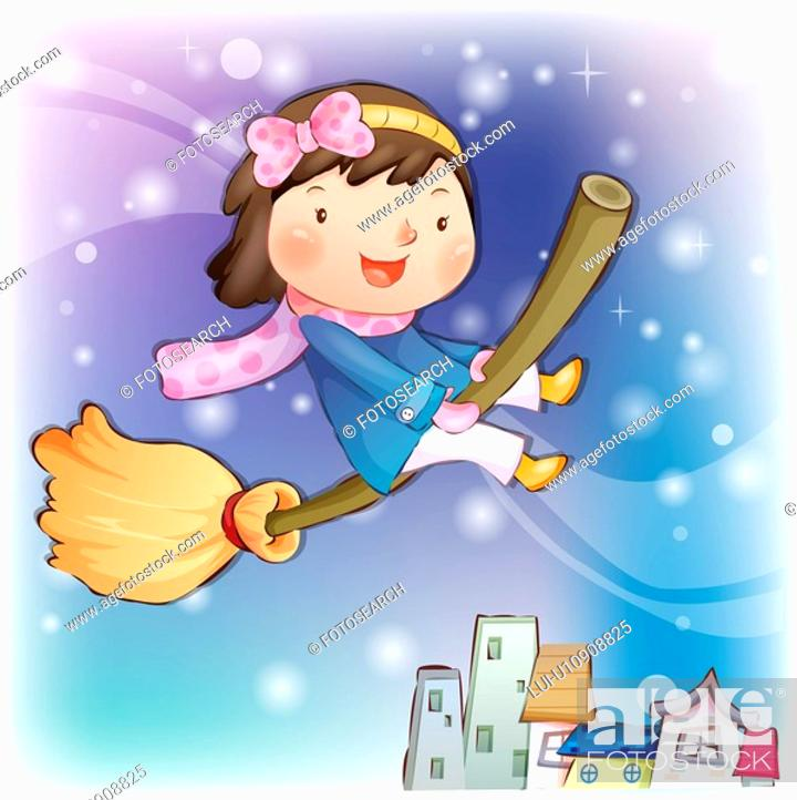 Stock Photo: broomstick, snow, flying, smiling, chirstmas, winter.