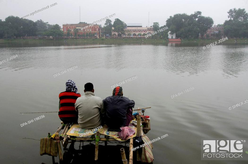 Stock Photo: Man engaged in fishing, cooch, behar, west bengal, india, asia.