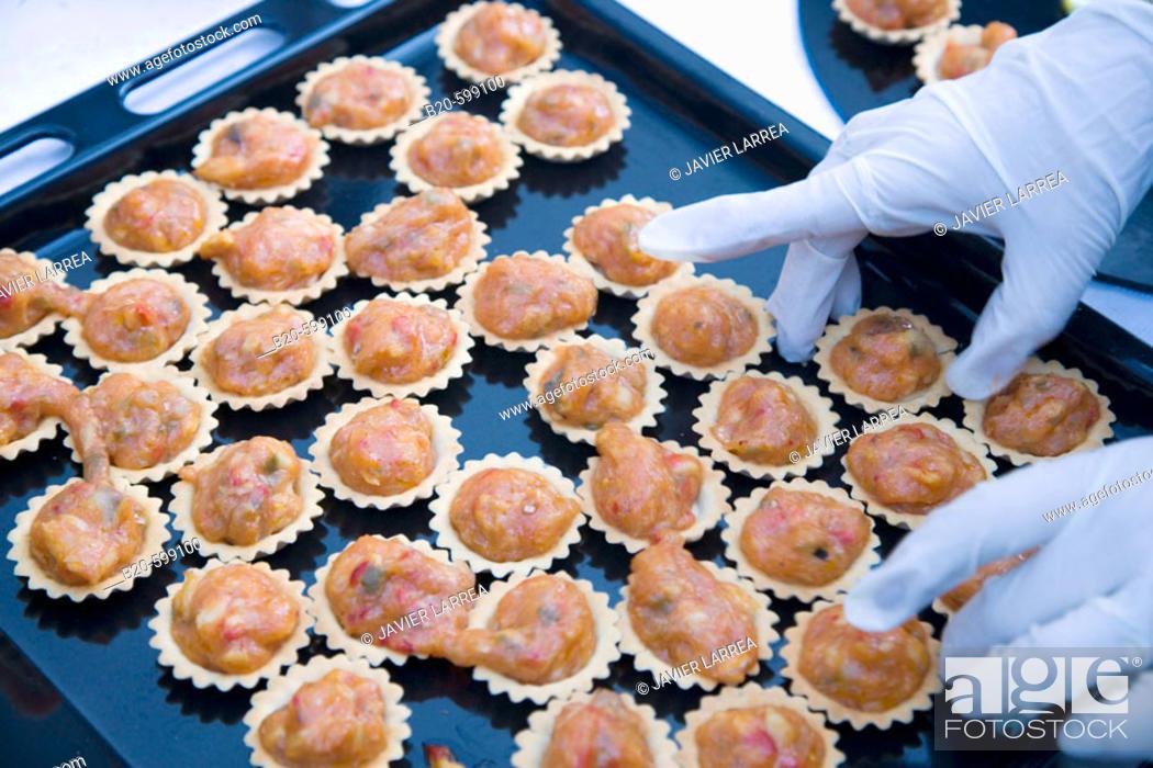 Stock Photo: Codfish 'ajo arriero' style, Preparing canapes, Divinus Catering, Tolosa, Gipuzkoa, Euskadi. Spain.
