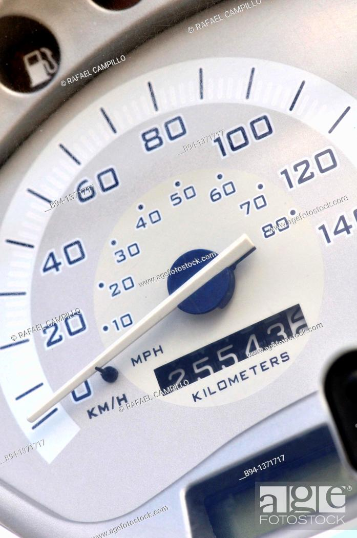 Stock Photo: Speedometer / tachometer of a motorcycle.
