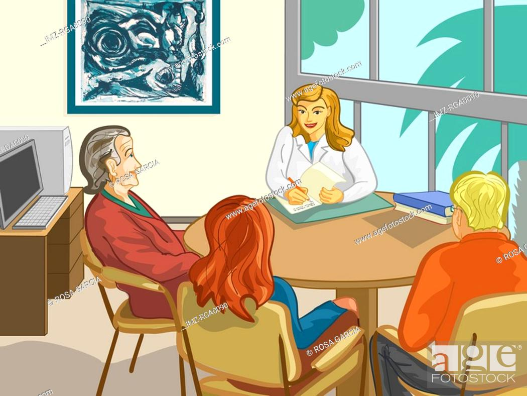 Stock Photo: A family sitting around a table speaking with a doctor.